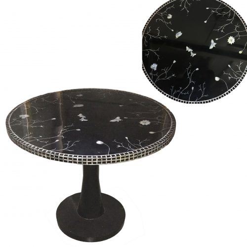 Black lacquer inlaid table<br> &#8211; <br> 1 item <br> D100cm H85cm <br>&#8211;<br> £600 per item